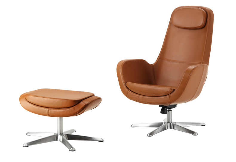 The Ikea Arvika Swivel Chair And Ottoman In Grann Brown Leather